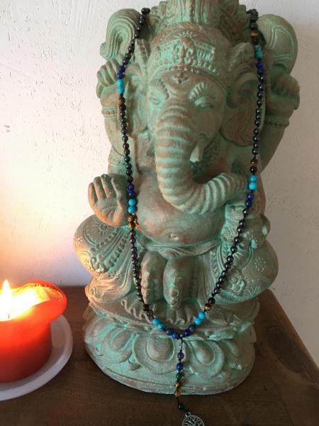 Mala hematite oeil tigre lapis lazuli howlite